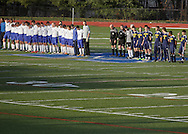 Middletown, New York  - High school soccer teams line up on the field for introductions before the start of the New York State Class A boys' soccer championship game at Faller Field on Nov. 20, 2011.