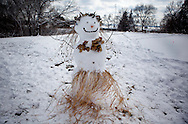 A happy snowman-women in Warner Park in Madison, Wisconsin Friday March 2, 2012.