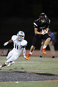 Erie Cathedral Prep Ramblers wide receiver Tyler Oedekoven (3) leaps to catch a second quarter deep pass during the 2017 high school football game against the against the Cleveland Benedictine Bengals, Friday, Sept. 15, 2017 in Erie, Pa. The Ramblers won the game 62-28. (©Paul Anthony Spinelli)