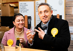 Leith, Scotland, UK. 25th November 2019. Scottish Liberal Democrat campaign chair Alex Cole-Hamilton and Rebecca Bell Liberal parliamentary candidate for Dunfermline and West Fife visited Port of Leith Distillery and outlined the party's plans to target new ground such as Edinburgh North and Leith, as well as recapturing the party's traditional Scottish heartlands in the snap general election. Iain Masterton/Alamy Live News.