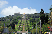 Israel, Haifa, the gilded dome roof of the Bahai Shrine of the Bab and the garden leading to the shrine