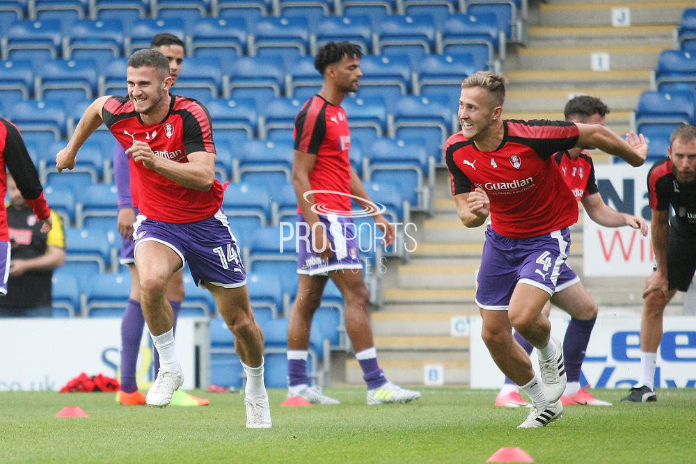 Rotherham players warm up during the Pre-Season Friendly match between Chesterfield and Rotherham United at the b2net stadium, Chesterfield, England on 25 July 2017. Photo by John Potts.