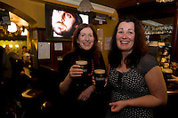 Pictured enjoying a premiere of the new Guinness advertisement, This is Rugby Country, which aired at an special viewing at E Brun, Dominick St, Galway, are Sandra O Donnell Rahoon and Anne Keane Doughuisce  . Guinness enjoys a long standing relationship with Irish rugby and has been a partner of the IRFU for over 20 years. The new advertisement features real people - not actors or models - and this is one of the key ingredients to the campaign.. Photo:Andrew Downes.