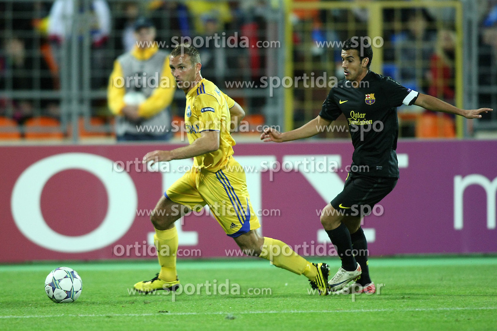 28.09.2011, Haradski Stadion, Minsk, BLR, UEFA CL, Gruppe H, BATE Baryssau vs FC Barcelona, im Bild PEDRO // during the UEFA Champions League game, group H, FK BATE Borisov (BLR) vs FC Barcelona (ESP) at Haradski stadium in Minsk, Byelorussia on 2011/09/28. EXPA Pictures © 2011, PhotoCredit: EXPA/ Newspix/ Piotr Kucza +++++ ATTENTION - FOR AUSTRIA/(AUT), SLOVENIA/(SLO), SERBIA/(SRB), CROATIA/(CRO), SWISS/(SUI) and SWEDEN/(SWE) CLIENT ONLY +++++