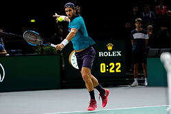 November 1, 2017 - Paris, France - The Spanish player FELICIANO LOPEZ returns the ball to French player LUCAS POUILLE during the tournament Rolex Paris Master at Paris AccorHotel Arena Stadium in Paris France.Lucas Pouille won 6-3 6-4 (Credit Image: © Pierre Stevenin via ZUMA Wire)