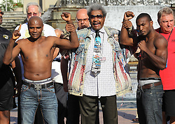 August 6, 2010; St. Louis, MO; USA; Tavoris Cloud (r) and Glen Johnson (l) weigh-in for their upcoming bout at the Scotttrade Center in St. Louis, MO.