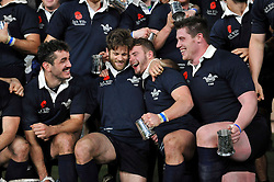 Oxford University team-mates Jacob Taylor and Henry Lamont celebrate after the match - Photo mandatory by-line: Patrick Khachfe/JMP - Mobile: 07966 386802 11/12/2014 - SPORT - RUGBY UNION - London - Twickenham Stadium - Oxford University v Cambridge University - The Varsity Match