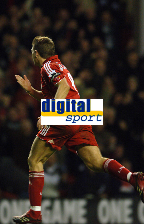 Photo: Paul Greenwood.<br />Liverpool v Manchester City. The Barclays Premiership. 25/11/2006. Liverpool's Steven Gerrard runs towards the Kop in celebration after scoring