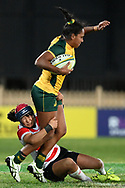 SYDNEY, AUSTRALIA - JULY 19: Mahalia Murphy (15) of the Wallaroos is tackled during the second rugby test match between the Australian Wallaroos and Japan on July 19, 2019 at North Sydney Oval in Sydney, Australia. (Photo by Speed Media/Icon Sportswire)