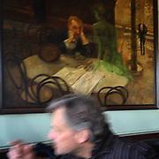 """The Absinthe Drinker"", Kavarna Slavia in Prague. #prag #praha #Prague #czechrepublic #painting #absinthe #absint"
