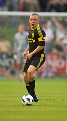 ZUG, SWITZERLAND - Wednesday, July 21, 2010: Liverpool's captain Jay Spearing in action against Grasshopper Club Zurich during the Reds' first preseason match of the 2010/2011 season at the Herti Stadium. (Pic by David Rawcliffe/Propaganda)