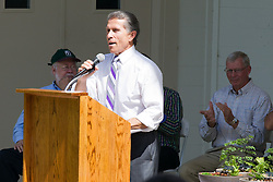 10 May 2014:  Bloomington Mayor Tari Renner at podium for 25th anniversary celebration of the Constitution Trail ceremony at Connie Link Amphitheater in Normal Illinois