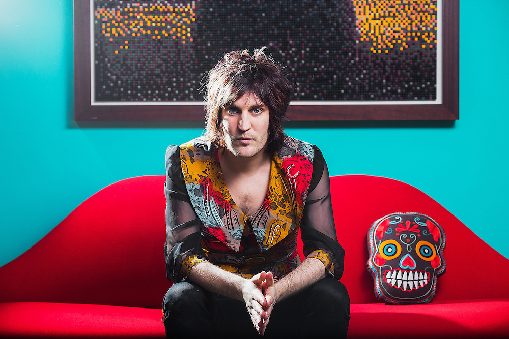 Luxury Comedy Noel Fielding portrait, at his home in north London.<br /> <br /> <br /> Photo By Ki Price