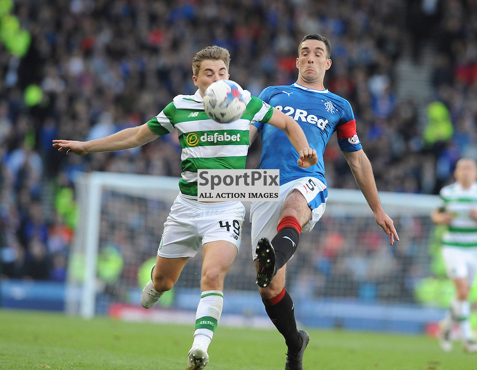 James Forrest  and Lee Wallace battle for the ball in the match between Rangers v Celtic, Betfred Cup semi-final, Hampden Park, Sunday 23 October 2016, (c) Angie Isac | SportPix.org.uk