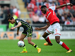 Kyle Bennett of Bristol Rovers under pressure from Semi Ajayi of Rotherham United - Mandatory by-line: Alex James/JMP - 21/04/2018 - FOOTBALL - Aesseal New York Stadium - Rotherham, England - Rotherham United v Bristol Rovers - Sky Bet League One