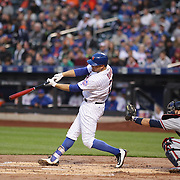 NEW YORK, NEW YORK - MAY 02:  Lucas Duda #21 of the New York Mets hits a solo home run in the first inning off Mike Foltynewicz #26 of the Atlanta Braves during the Atlanta Braves Vs New York Mets MLB regular season game at Citi Field on May 02, 2016 in New York City. (Photo by Tim Clayton/Corbis via Getty Images)