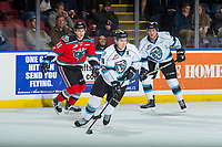 KELOWNA, CANADA - DECEMBER 2: Vince Loschiavo #18 of the Kootenay Ice skates with the puck against the Kelowna Rockets on December 2, 2017 at Prospera Place in Kelowna, British Columbia, Canada.  (Photo by Marissa Baecker/Shoot the Breeze)  *** Local Caption ***