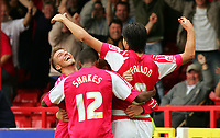 Fotball<br /> England 2005/2006<br /> Foto: SBI/Digitalsport<br /> NORWAY ONLY<br /> <br /> Swindon v Yeovil<br /> Coca Cola League 1.<br /> 27/08/2005.<br /> <br /> Swindon's Rory Fallon celebrates his scoring the third swindon goal with his team mates.