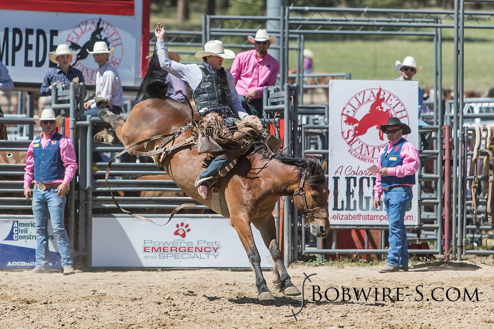 Saddle bronc rider Mason Mardesich rides Summit Pro Rodeo's 011 Wrong Number in the first performance of the Elizabeth Stampede on Saturday, June 2, 2018.