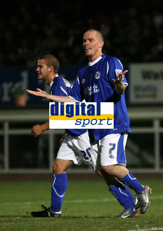 Photo: Rich Eaton.<br /> <br /> Hereford United v Leicester City. Carling Cup. 19/09/2006. Iain Hume celebrates scoring Leicesters 3rd goal from the penalty spot