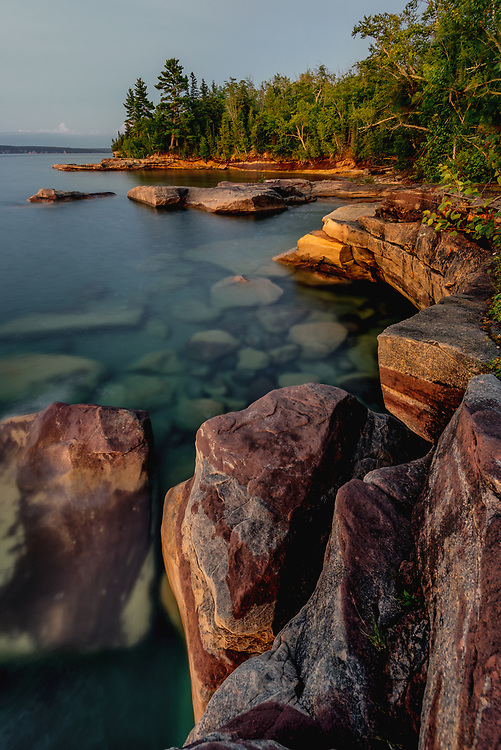 Calm moning waters of Lake Superior.
