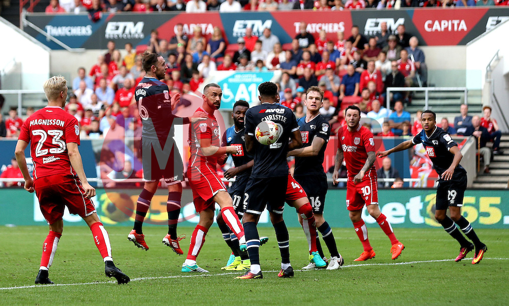 Aaron Wilbraham of Bristol City heads the ball towards goal - Mandatory by-line: Robbie Stephenson/JMP - 17/09/2016 - FOOTBALL - Ashton Gate Stadium - Bristol, England - Bristol City v Derby County - Sky Bet Championship