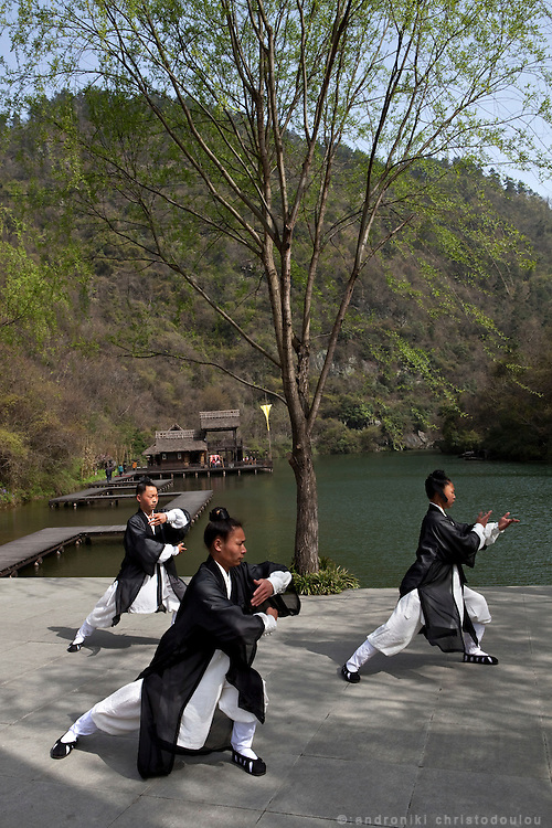 Asia, China, Hubei province. Preperation for a demonstration of Woudang mountain style Tai Chi at a special stage on Wudang moutain (Wudang-san), a World Heritage mountain with many Taoist monasteries.
