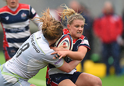Brooke Bradley of Bristol Ladies is tackled by Poppy Cleall of Saracens Women - Mandatory by-line: Paul Knight/JMP - 30/03/2018 - RUGBY - Shaftsbury Park - Bristol, England - Bristol Ladies v Saracens Women - Tyrrells Premier 15s
