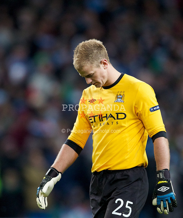 MANCHESTER, ENGLAND - Wednesday, December 7, 2011: Manchester City's goalkeeper Joe Hart looks dejected during the UEFA Champions League Group A match against FC Bayern Munchen at the City of Manchester Stadium. (Pic by Vegard Grott/Propaganda)