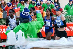 Jepkosgei leads through water station<br /> TCS New York City Marathon 2019