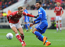 Josh Brownhill of Bristol City is challenged by Callum Connolly of Ipswich Town - Mandatory by-line: Nizaam Jones/JMP - 17/03/2018 - FOOTBALL - Ashton Gate Stadium- Bristol, England - Bristol City v Ipswich Town - Sky Bet Championship