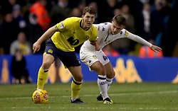 Blackburn Rovers' Richard Smallwood, (left) battles for possession of the ball with Leeds United's Jamie Shackleton, (right) during the Sky Bet Championship match at Elland Road, Leeds.