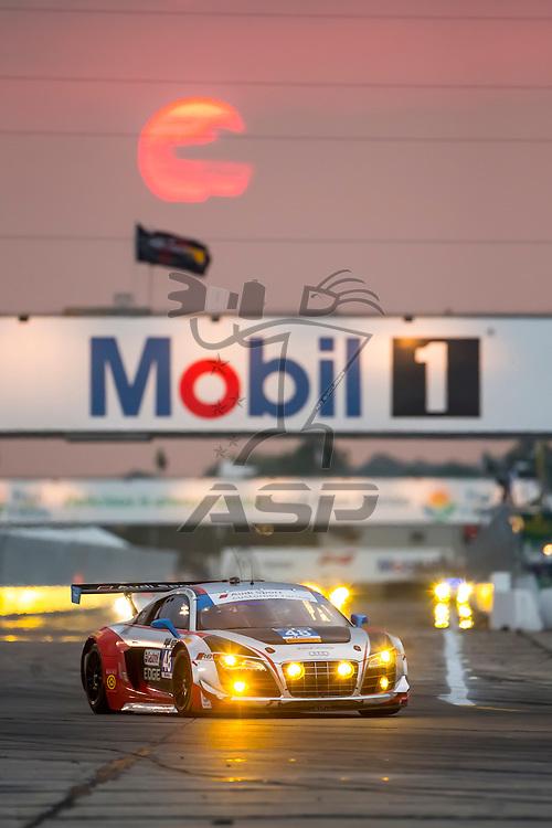 Sebring, FL - Mar 19, 2015:  The Paul Miller Audi R8 LMS races through the turns at 12 Hours of Sebring at Sebring Raceway in Sebring, FL.