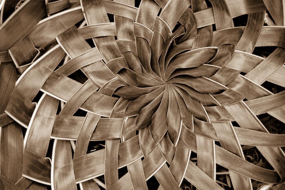 Polynesian lauhala basket design of Pandanas leaves