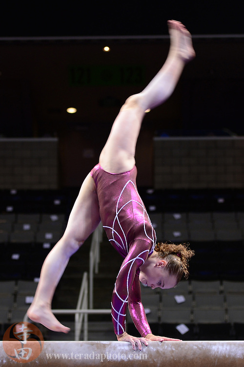 June 29, 2012; San Jose, CA, USA; Rebecca Bross warms up on the balance beam during the 2012 USA Gymnastics Olympic Team Trials at HP Pavilion.