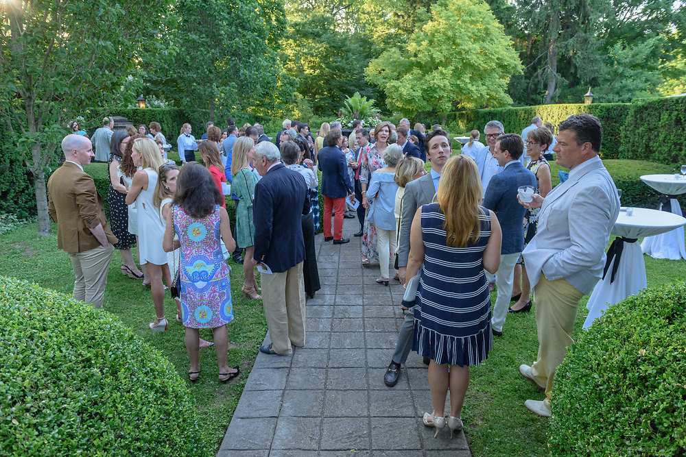 Friends of Whitehall Louisville's Estate Gardens gather for their seventh annual Summer Celebration to honor Sandra Frazier, Friday, June 9, 2017, in the formal garden of the historic mansion on Lexington Road. (Photo by Brian Bohannon)