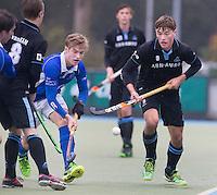 UTRECHT- Hockey - Jorrit Croon (r)  van HGC met Maarten vd Berg van Kampong ,   tijdens de hoofdklasse competitiewedstrijd tussen de mannen van Kampong en HGC (2-1). COPYRIGHT KOEN SUYK