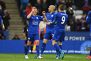 Leicester City midfielder Marc Albrighton (11) celebrates with Leicester City forward Jamie Vardy (9) after scoring a goal to make it 3-0 during the Premier League match between Leicester City and Watford at the King Power Stadium, Leicester, England on 6 May 2017. Photo by Jon Hobley.