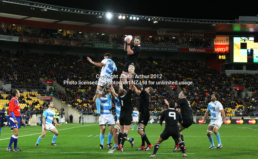 All Blacks' Kieran Read jumps in the lineout during the Rugby Championship Union test match. All Blacks v Argentina at Westpac Stadium, Wellington, New Zealand on Saturday 8 September 2012. Photo: Justin Arthur / photosport.co.nz