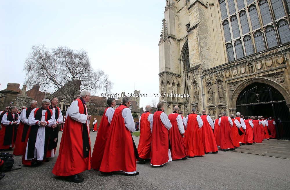 Clergy arriving for the  enthronement of Justin Welby as the Archbishop of Canterbury, at Canterbury Cathedral in Kent,  Thursday, 21st March 2013.  Photo by: Stephen Lock / i-Images
