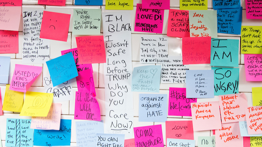 Subway sentiment - Artist Levee handed out post-it notes to people on the 6th ave L train subway station in New York City right after the election, giving travellers a chance to express their feelings. Now the stickers are all over, expressing frustration, grief and hope. These images are from Union Square Subway Station.