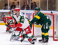2019-12-02 | Umeå, Sweden:Mora (27) Brant Harris on his way back to the own zone in  HockeyAllsvenskan during the game  between Björklöven and Mora at A3 Arena ( Photo by: Michael Lundström | Swe Press Photo )<br /> <br /> Keywords: Umeå, Hockey, HockeyAllsvenskan, A3 Arena, Björklöven, Mora, mlbm191202