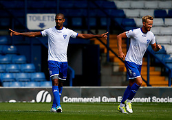 Jermaine Beckford of Bury celebrates after scoring his sides first goal  - Mandatory by-line: Matt McNulty/JMP - 16/07/2017 - FOOTBALL - Gigg Lane - Bury, England - Bury v Huddersfield Town - Pre-season friendly
