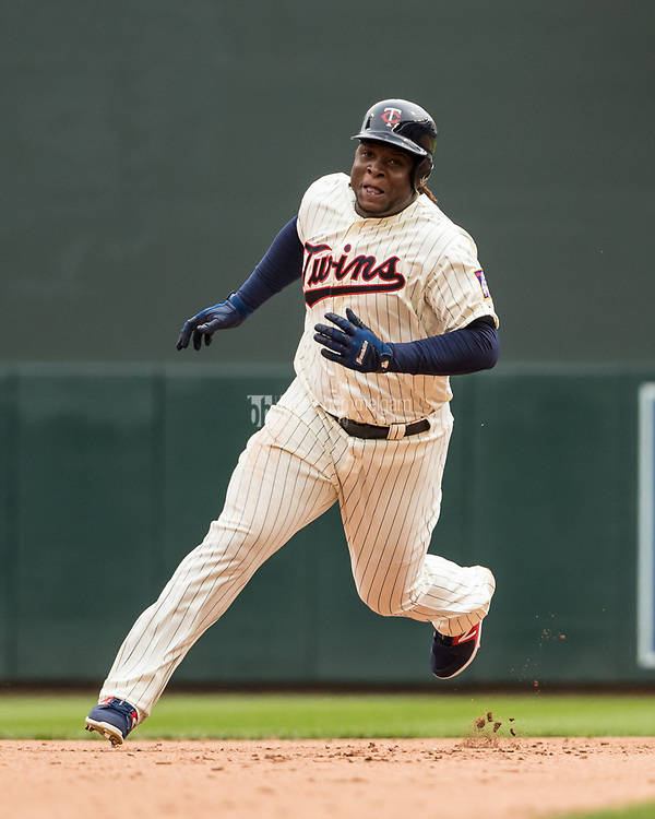 MINNEAPOLIS, MN- APRIL 5: Miguel Sano #22 of the Minnesota Twins runs against the Kansas City Royals on April 5, 2017 at Target Field in Minneapolis, Minnesota. The Twins defeated the Royals 9-1. (Photo by Brace Hemmelgarn) *** Local Caption *** Miguel Sano