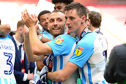 Free to use courtesy of Sky Bet. Liam Kelly celebrates after winning the Sky Bet League Two play off final against Exeter City   - Mandatory by-line: Dougie Allward/JMP - 28/05/2018 - FOOTBALL - Wembley Stadium - London, England - Coventry City v Exeter City - Sky Bet League Two Play-off Final