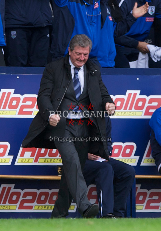 WEST BROMWICH, ENGLAND - Saturday, April 2, 2011: West Bromwich Albion's manager Roy Hodgson celebrates a 2-1 victory against former club Liverpool during the Premiership match at The Hawthorns. (Photo by Dave Kendall/Propaganda)