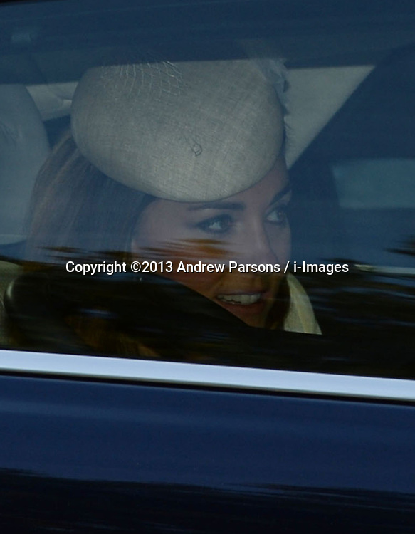 The Duchess of Cambridge arriving for Prince George's christening at St.James's Palace in London, United Kingdom,  Wednesday, 23rd October 2013. Picture by Andrew Parsons / i-Images