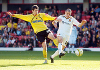 Photo: Leigh Quinnell.<br /> Watford v Hull City. Coca Cola Championship. 20/10/2007. Hulls Dean Marney comes under attack from Watfords  Adam Johnson.