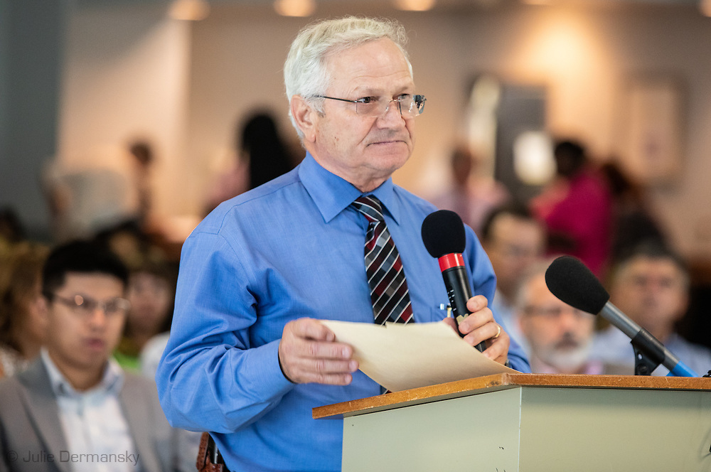 """Parish President.  Timothy P. """"Timmy"""" Roussel speaking at a Louisiana's Department of Environmental Quality's  public hearing on whether to approve the 15 air permits for Taiwanese company Formosa Plastics in Vacherie, LA. on July 9, 2019."""