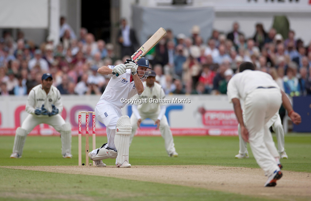 Andrew Strauss bats during the second npower Test Match between England and India at Trent Bridge, Nottingham.  Photo: Graham Morris (Tel: +44(0)20 8969 4192 Email: sales@cricketpix.com) 29/07/11